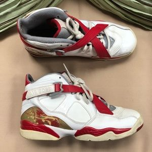 Air Jordan 8.0 White Varsity Red Stealth Size 7 Y